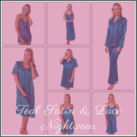 Teal Satin Nightwear Collection