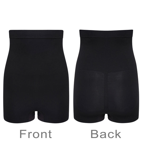 High Waist Control Shorts Anti Roll Silicone Grips Seamless Shapewear Black