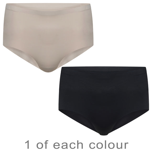 2 Pack Seamless Black and Nude Brief Knickers NO VPL Seamfree