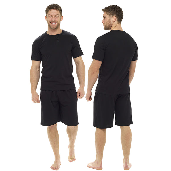 Plain Black Mens PJs Pyjamas Set Short Sleeve T Shirt with Shorts - Just For You Boutique