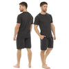 Plain Grey Mens PJs Pyjamas Set Short Sleeve T Shirt with Shorts - Just For You Boutique