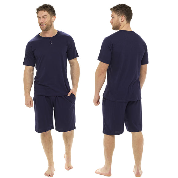 Plain Navy Blue Mens PJs Pyjamas Set Short Sleeve T Shirt with Shorts Summer PJs - Just For You Boutique