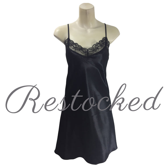 Plain Black Satin and Lace Chemise PLUS SIZE