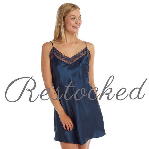Plain Navy Satin and Lace Chemise PLUS SIZE