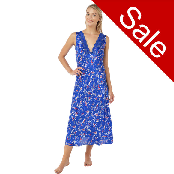 Sale Full Length Long Bright Blue Floral Satin Nightdress