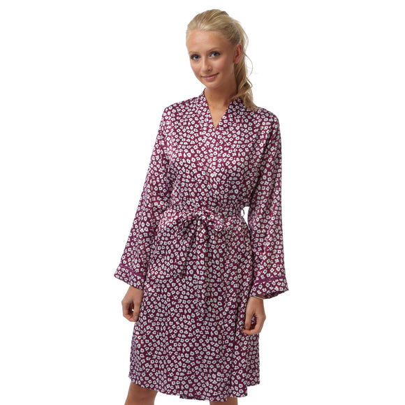 Purple Daisy Floral Satin Bathrobe Wrap Kimono Dressing Gown Robe
