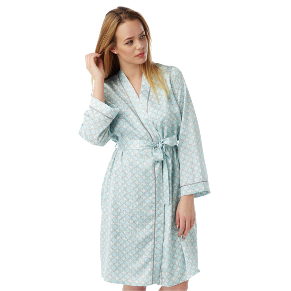 Aqua Satin Bathrobe Wrap Kimono Dressing Gown Robe - Just For You Boutique