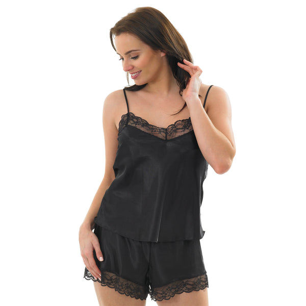 Black Satin and Lace Cami Set with French Knickers - Just For You Boutique