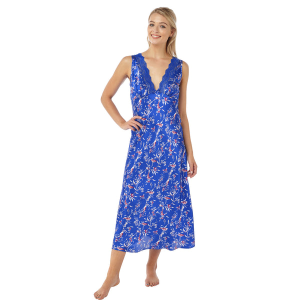 Full Length Long Bright Blue Floral Satin Nightdress - Just For You Boutique