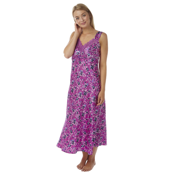 Full Length Long Satin and Lace Floral Pink Nightdress PLUS SIZE - Just For You Boutique