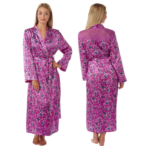 Long Pink Floral Satin and Lace Wrap - Just For You Boutique