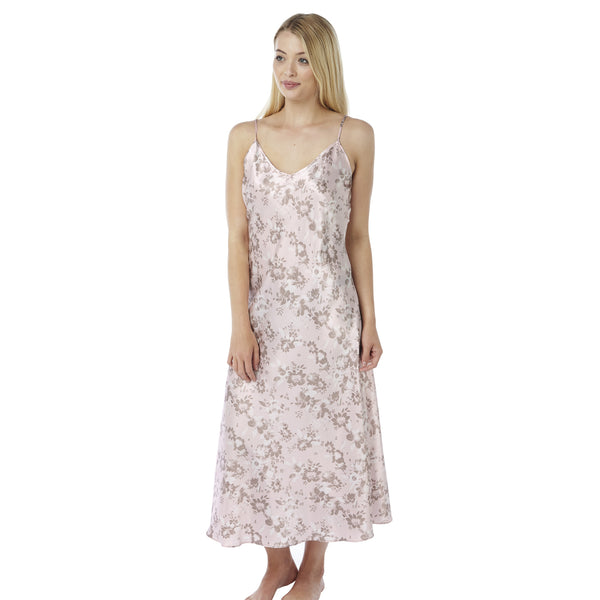 Long Full Length Pink Floral Hibiscus Satin Nightdress - Just For You Boutique