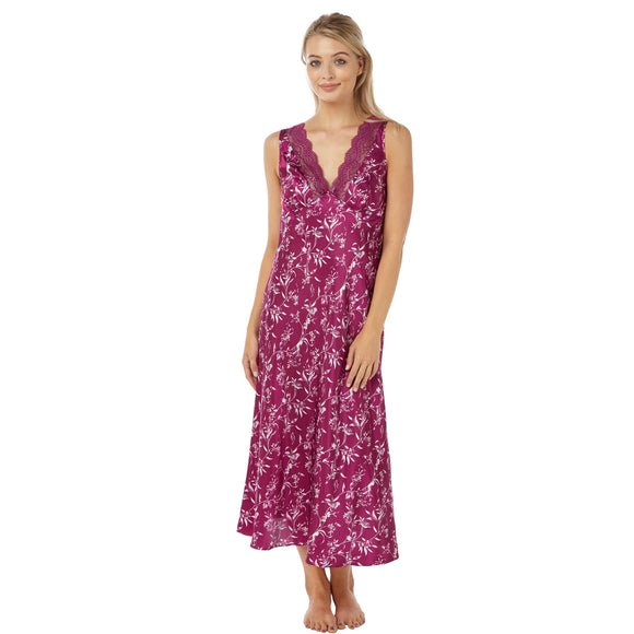 Full Length Long Pink Purple Floral Satin Nightdress - Just For You Boutique