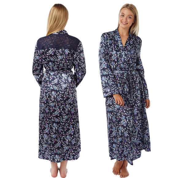 Long Navy Blue Floral Satin and Lace Wrap - Just For You Boutique