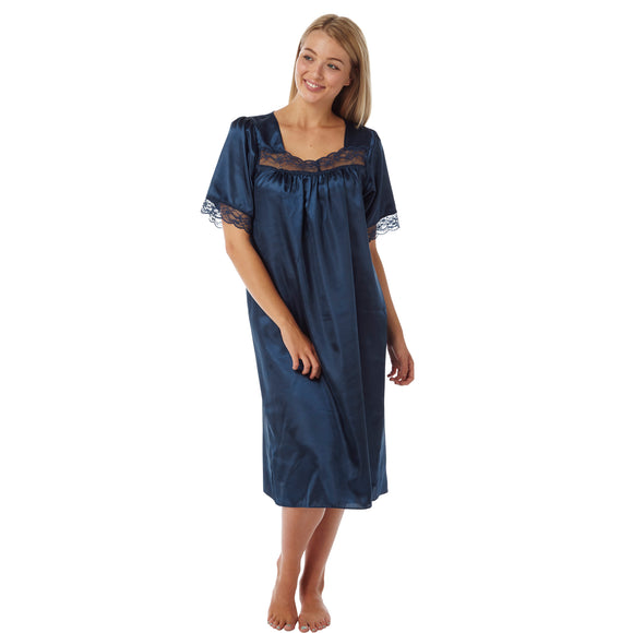 Plain Navy Satin and Lace Short Sleeve Nightdress - Just For You Boutique