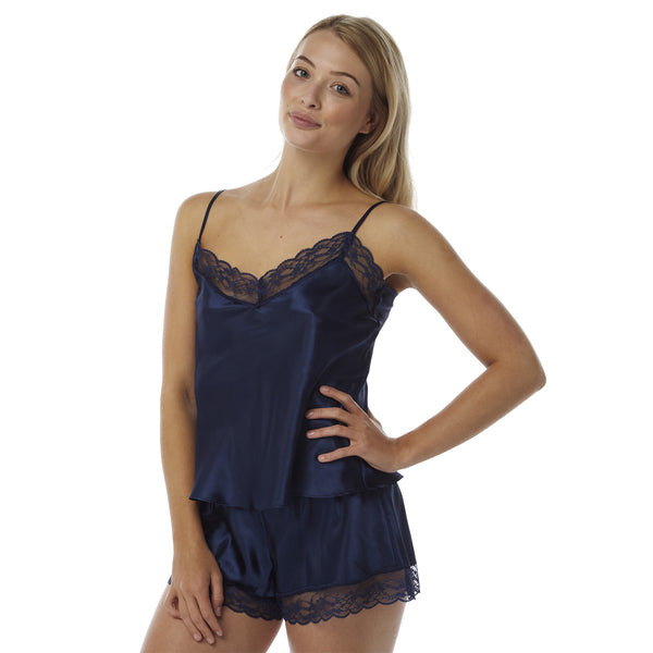 Navy Satin and Lace Cami Set with French Knickers - Just For You Boutique