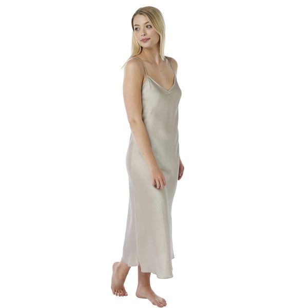 Long Full Length Satin Pewter Silver Nightdress - Just For You Boutique
