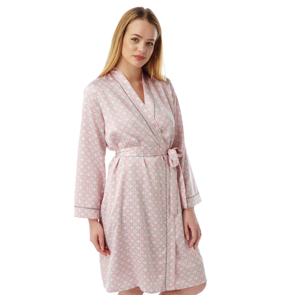 Pink Satin Bathrobe Wrap Kimono Dressing Gown Robe - Just For You Boutique