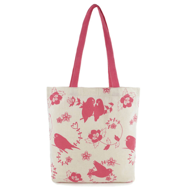 Pink Canvas Shabby Chic Shopping Beach Bag Owl Bird Vintage Style Tote - Just For You Boutique