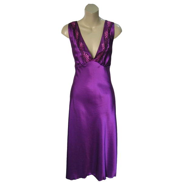 Long Full Length Purple Satin Nightdress With Embroidered Floral Detailing - Just For You Boutique
