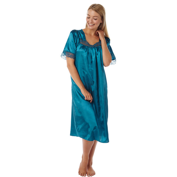 Plain Teal Satin and Lace Short Sleeve Nightdress - Just For You Boutique
