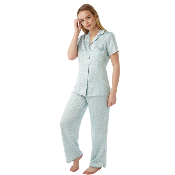 Aqua Continental Murcia Pattern Satin Pyjamas PJs Short Sleeve PLUS SIZES - Just For You Boutique