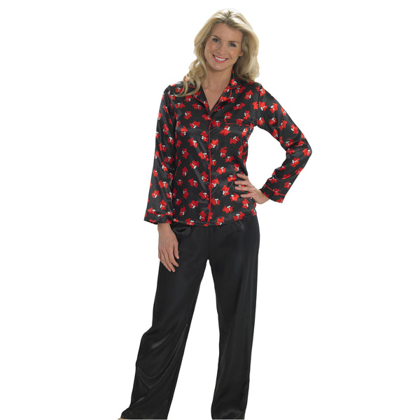 Black Red Scotty Dog Satin Pyjamas PJs Full Length Long Sleeve - Just For You Boutique