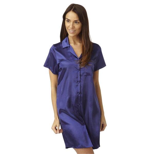 Plain Blue Satin Nightshirt Short Sleeve Knee Length - Just For You Boutique