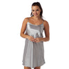 Plain Dark Silver Grey Satin Chemise Adjustable Straps Knee Length - Just For You Boutique