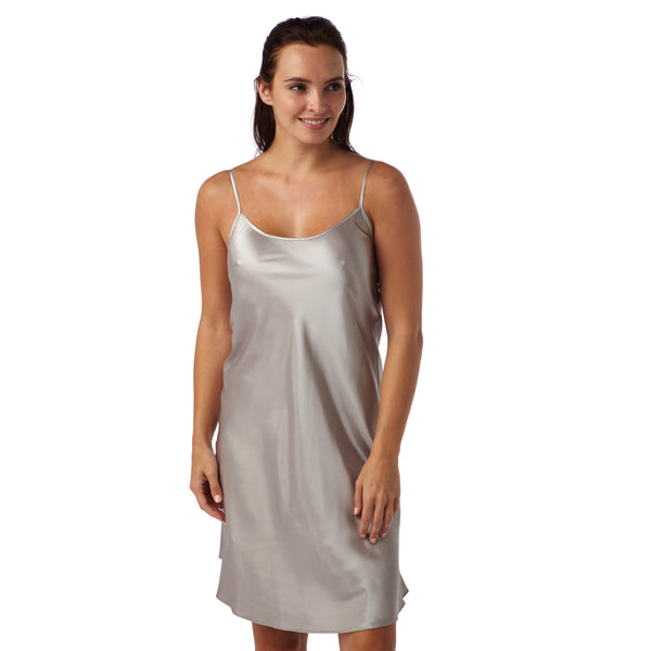 Plain Stone Grey Satin Chemise Adjustable Straps Knee Length - Just For You Boutique