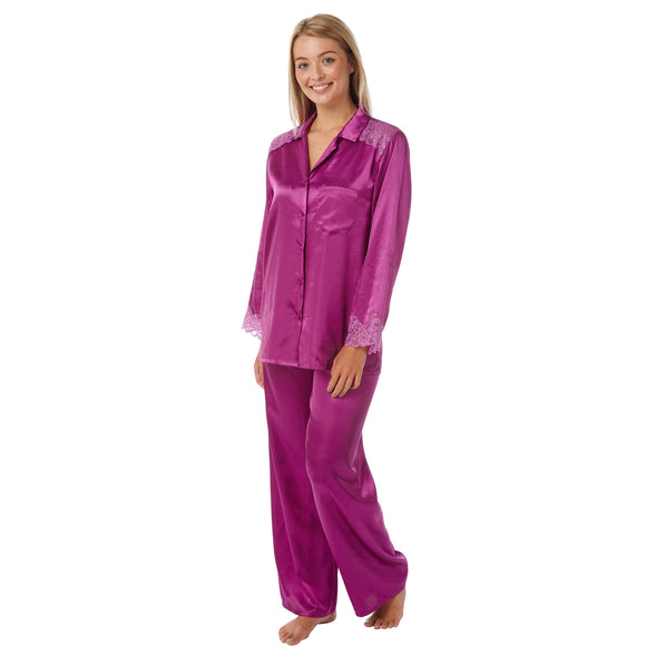 Fuchsia Pink Satin and Lace Pyjamas PJs PLUS SIZES - Just For You Boutique