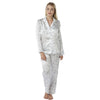 Ivory Purple Humming Bird Pattern Satin Pyjamas PJs - Just For You Boutique
