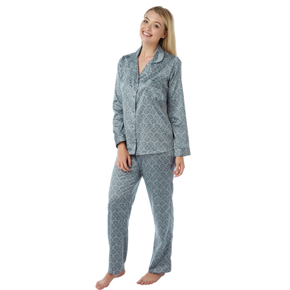 Navy Blue Ikat Heart Pattern Satin Pyjamas PJs PLUS SIZES - Just For You Boutique