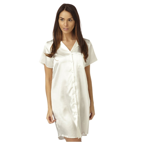 Plain Ivory Satin Nightshirt Short Sleeve Knee Length - Just For You Boutique