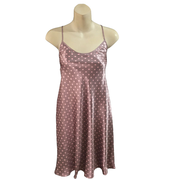 Mocha Pink Polka Dot Satin Chemise Adjustable Straps Knee Length - Just For You Boutique