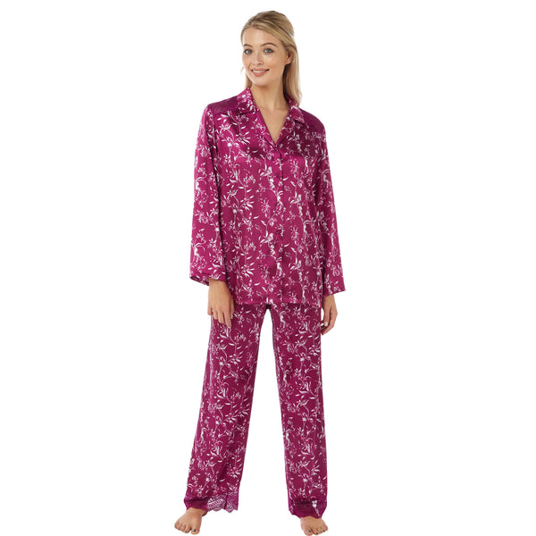 Mulberry Floral Satin and Lace Pyjamas PJs PLUS SIZES - Just For You Boutique