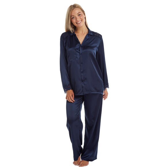 Plain Navy Blue Satin and Lace Pyjamas PJs - Just For You Boutique