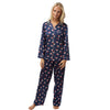 Warm Cottton Lined Navy Blue Satin Pyjamas PJs Full Length - Just For You Boutique