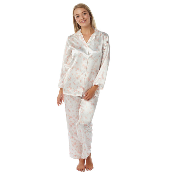 Ivory Peach Pink Floral Satin Pyjamas PJs Full Length - Just For You Boutique