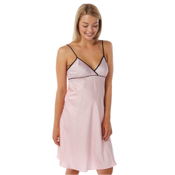 Pink Stripe Satin Chemise PLUS SIZES Adjustable Straps Knee Length - Just For You Boutique