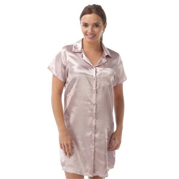 Plain Pink Satin Nightshirt Short Sleeve Knee Length - Just For You Boutique