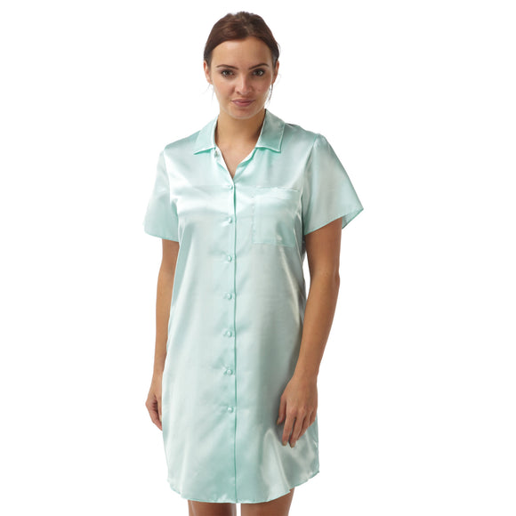 Plain Aqua Satin Nightshirt Short Sleeve Knee Length - Just For You Boutique