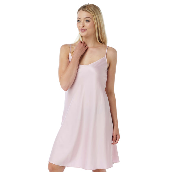 Plain Light Pink Satin Chemise PLUS SIZES Adjustable Straps Knee Length - Just For You Boutique