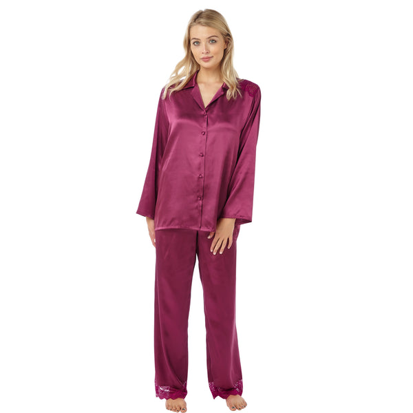 Plain Mulberry Satin and Lace Pyjamas PJs PLUS SIZES - Just For You Boutique