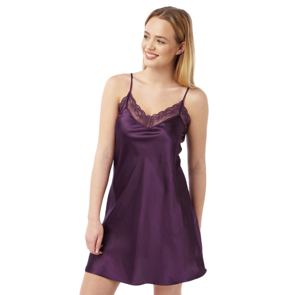 Plain Purple Satin and Lace Chemise Adjustable Straps Knee Length - Just For You Boutique