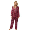 Warm Cotton Lined Red Satin Pyjamas PJs Full Length - Just For You Boutique