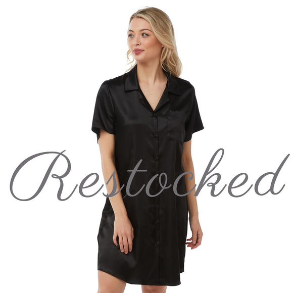 Plain Black Satin Nightshirt Short Sleeve Knee Length PLUS SIZE