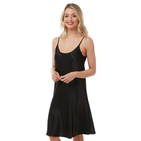 Plain Black Satin Chemise Nightie