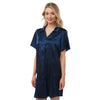 Plain Navy Satin Nightshirt Short Sleeve Knee Length PLUS SIZE