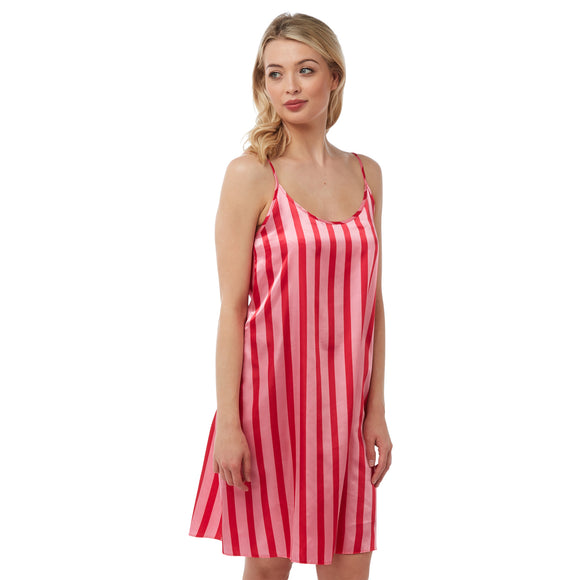 Pink Red Stripe Satin Chemise Nightie PLUS SIZE